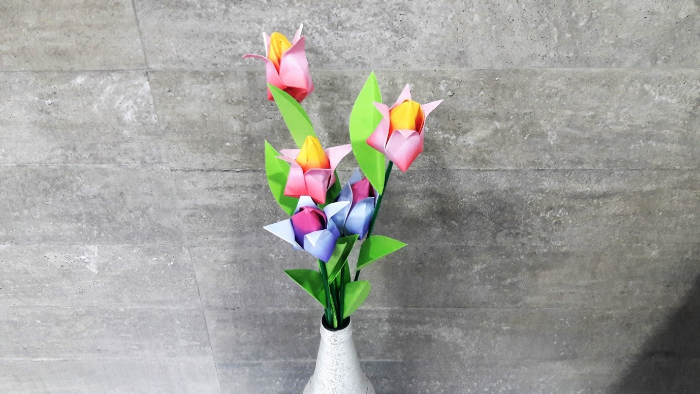 Origami Tulip Flowers Diy Art N Craft Mommyswallmommyswall